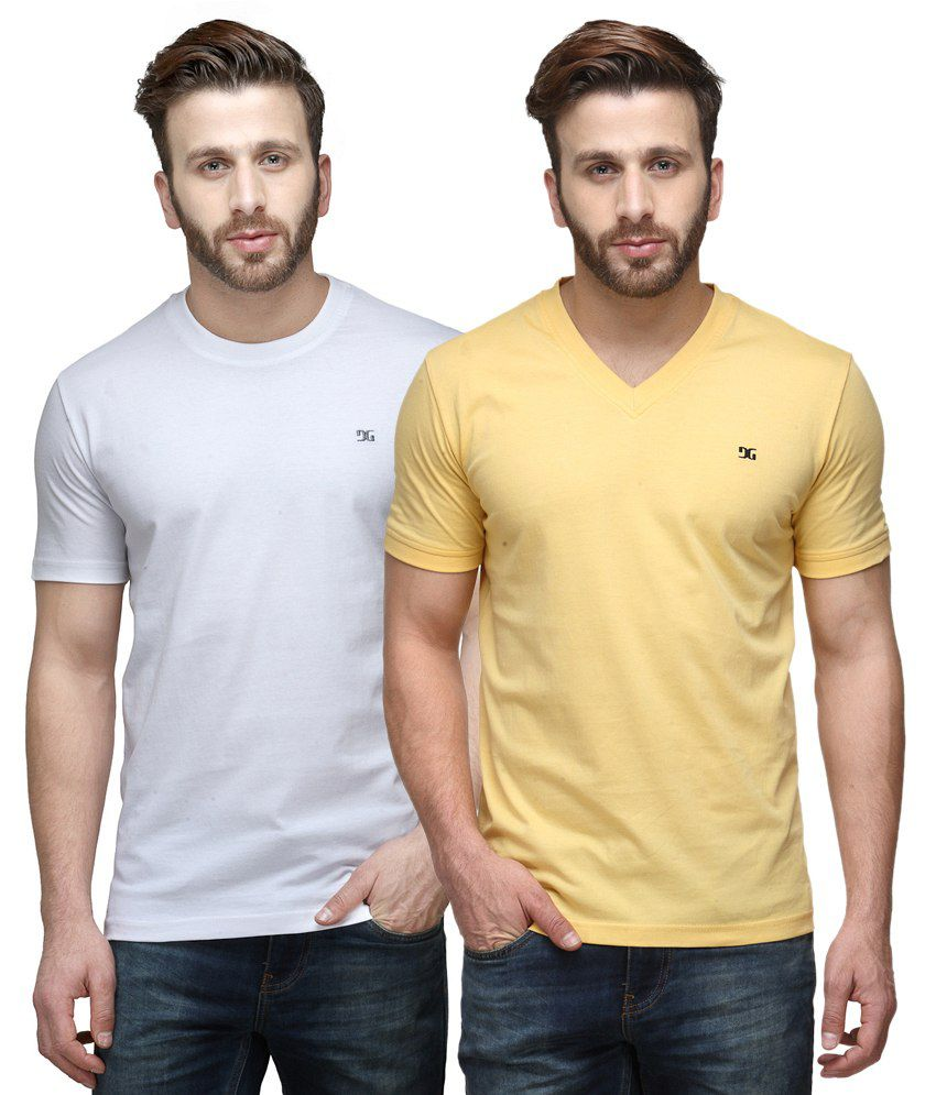 Dazzgear Combo of Regular Fit V-Neck and Round Neck T-Shirts - White & Yellow