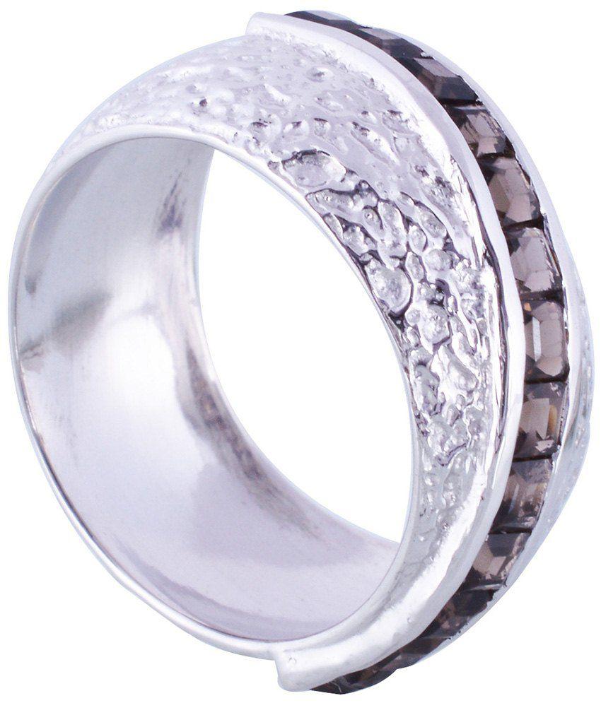 Gopalam Gems Black Silver Smoky Ring