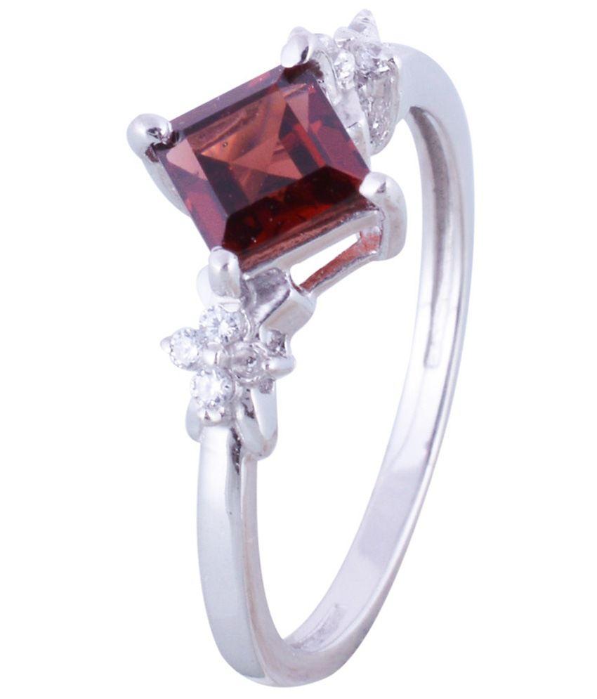 Gopalam Gems Red Silver Garnet Ring