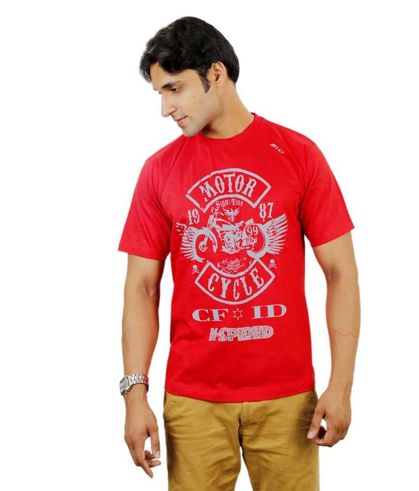 InkDice Red Cotton Printed Round Neck T-Shirt