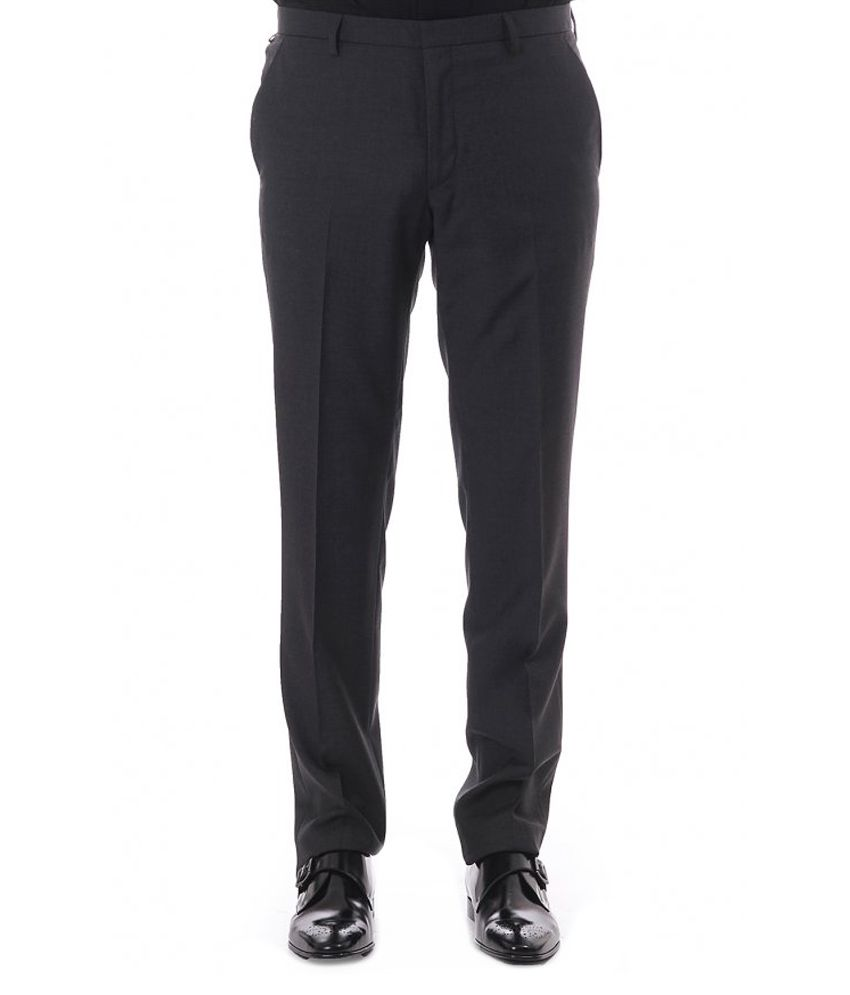 Arrow Gray Poly Viscose Formal Trousers for Men
