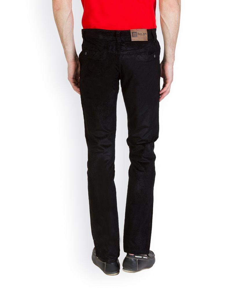 Bloos Jeans Black Cotton Blend Slim Fit Corduroy