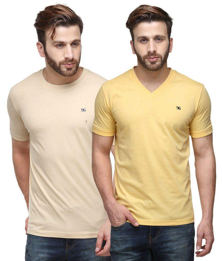 Dazzgear Combo of Regular Fit V-Neck and Round Neck T-Shirts - Beige & Yellow