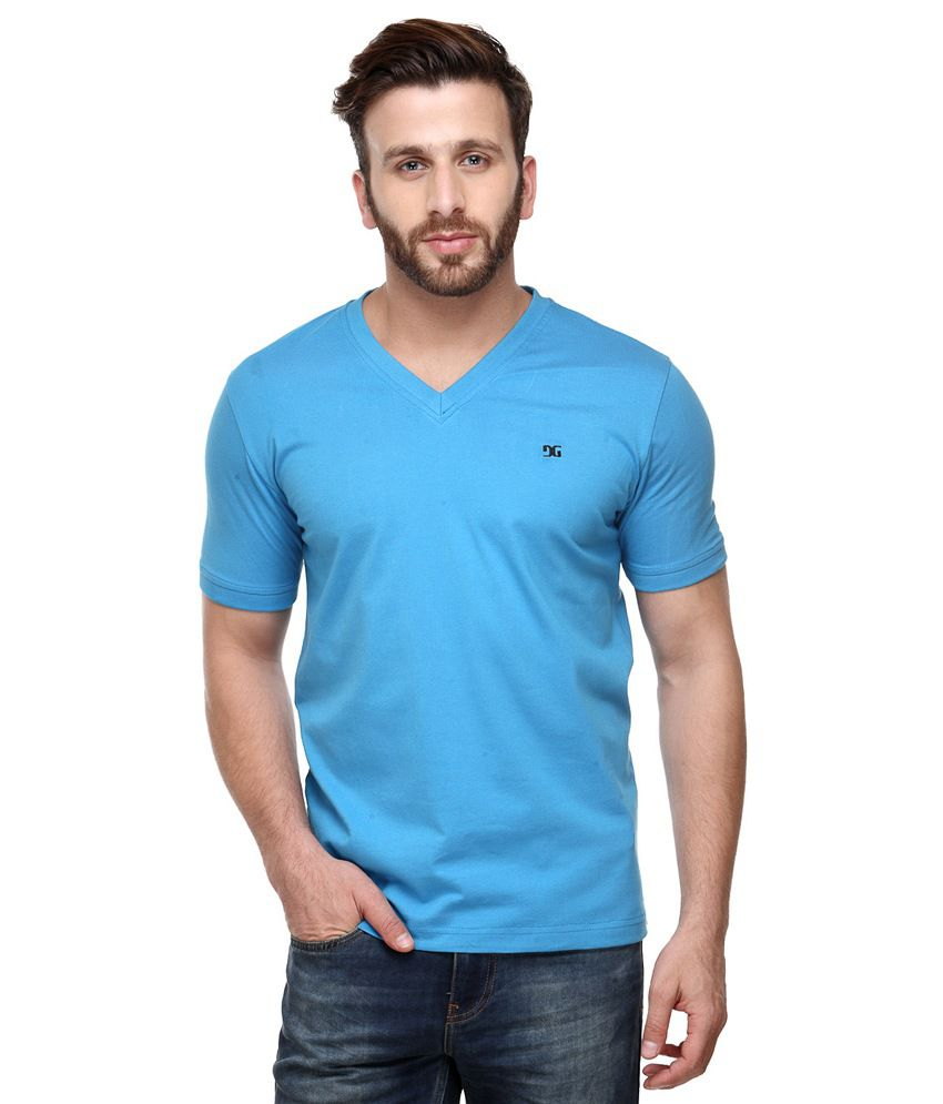 Dazzgear Combo of Regular Fit V-Neck T-Shirts - Blue