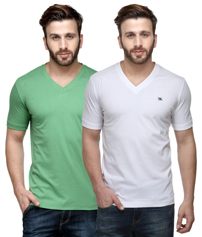 Dazzgear Combo of Regular Fit V-Neck T-Shirts - Green & White