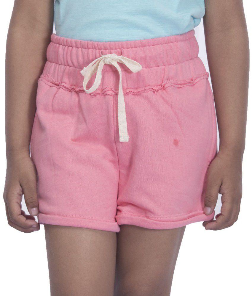 Sera Pink Cotton Elastic Shorts