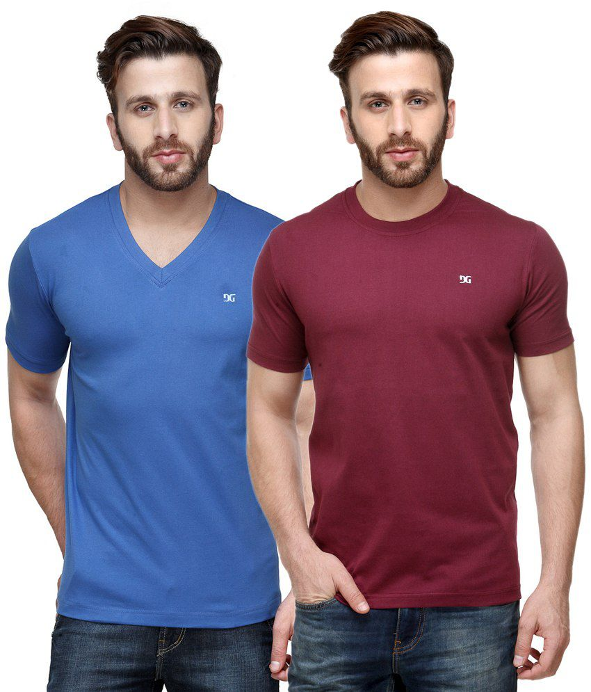 Dazzgear Combo of Blue & Red Round Neck T-Shirt and V Neck T-Shirt