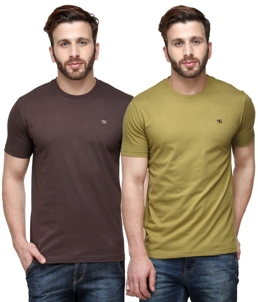 Dazzgear Combo of Brown & Green Round Neck T-Shirts