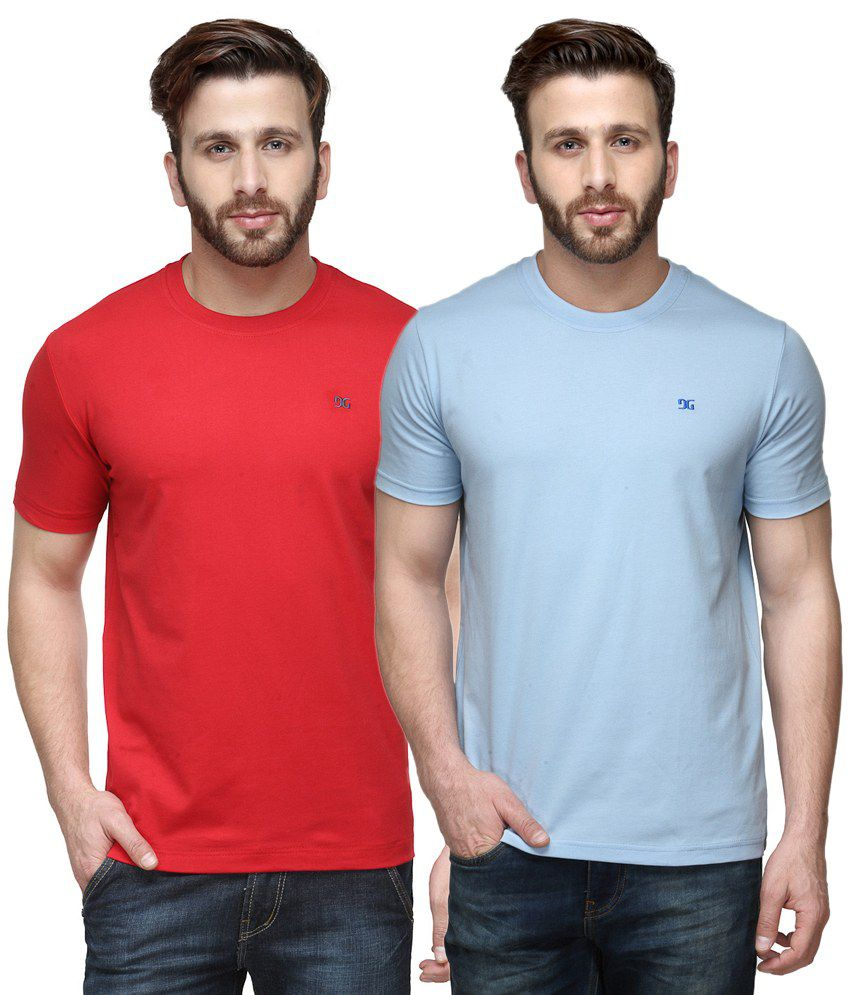 Dazzgear Combo of Red & Blue Round Neck T-Shirts
