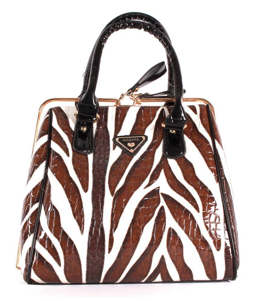 Heaven Deal Multi Leather Zebra Striped Elegant Hand-Held Bag