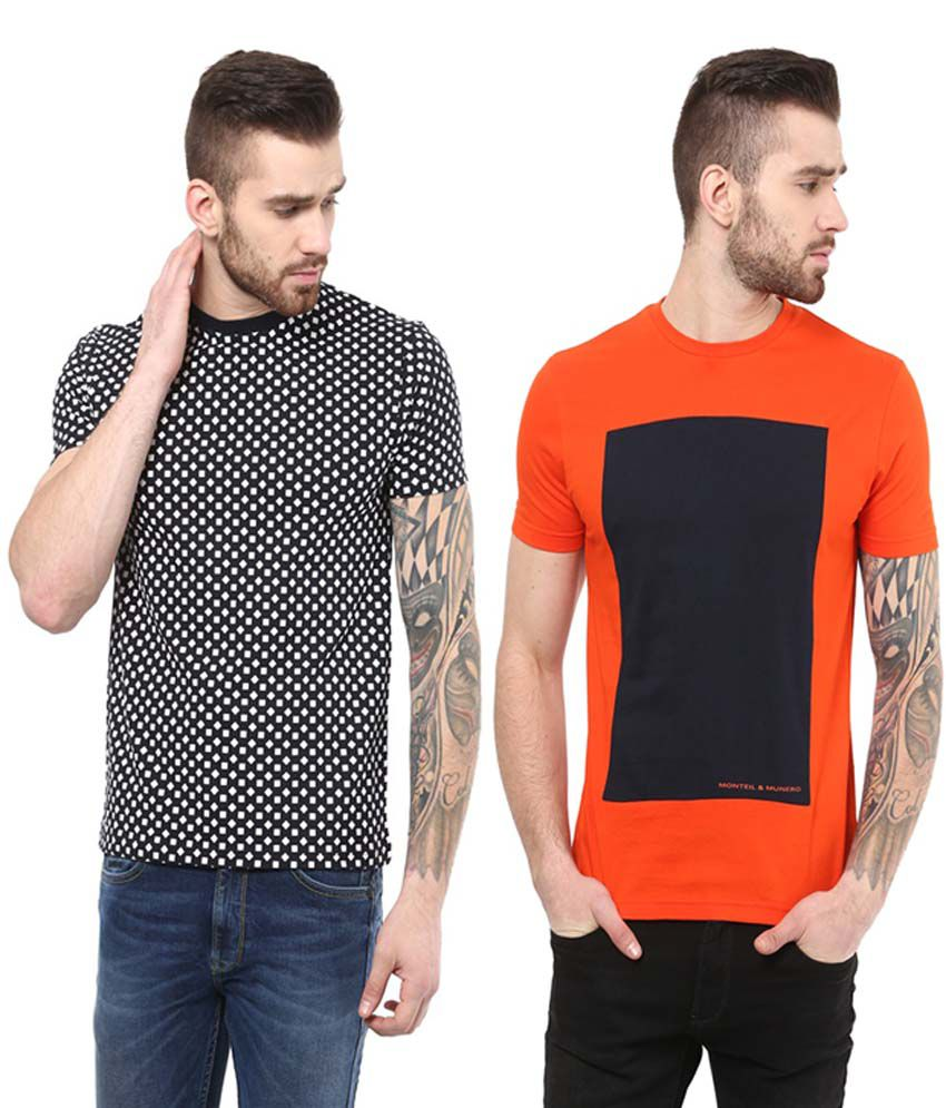 Monteil & Munero Orange and Black Cotton Round Neck T-Shirt (Pack of 2)