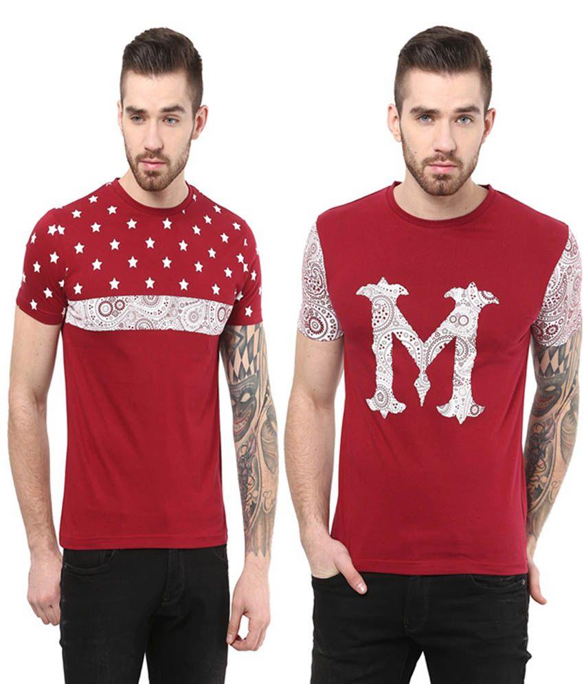 Monteil & Munero Red Half Sleeves Cotton Round Neck T-Shirt (Pack of 2)