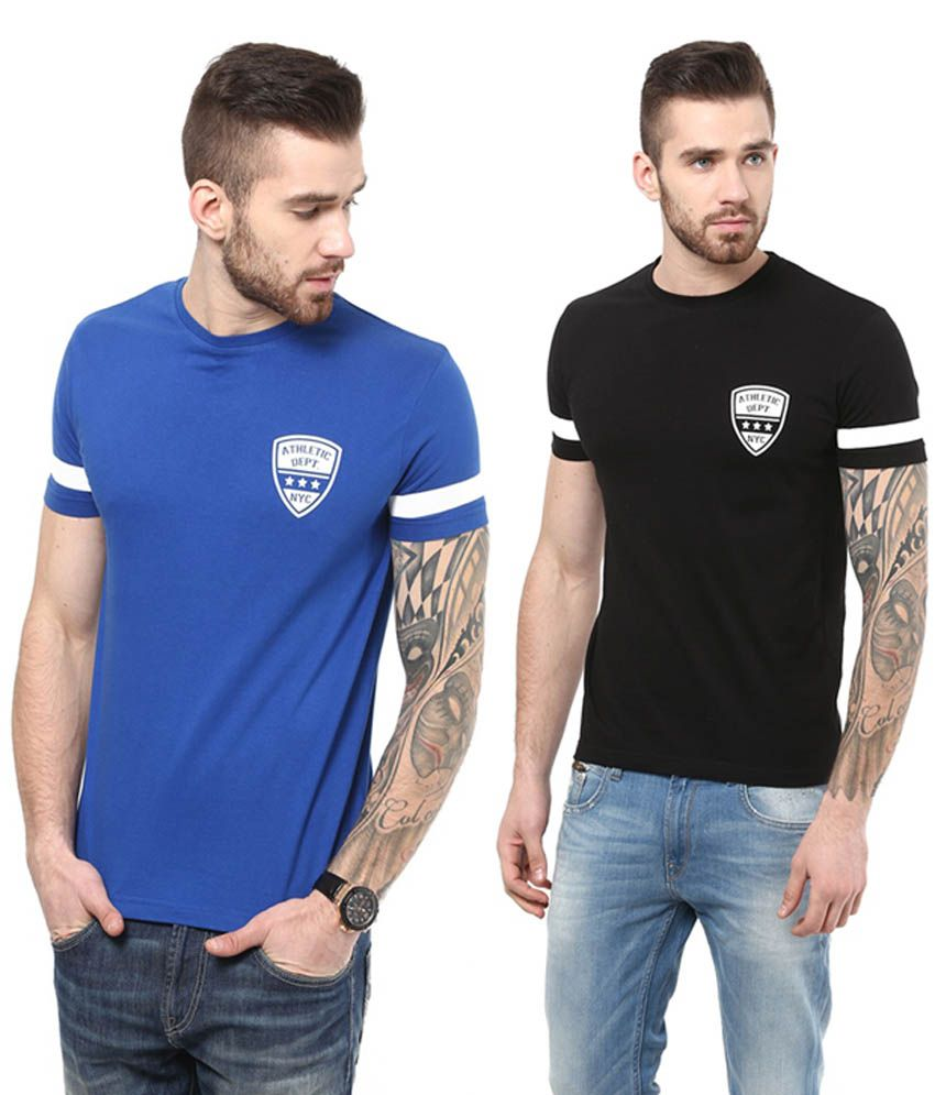 Monteil & Munero Trendy Blue & Black Cotton Round Neck T-Shirts (Pack of 2)