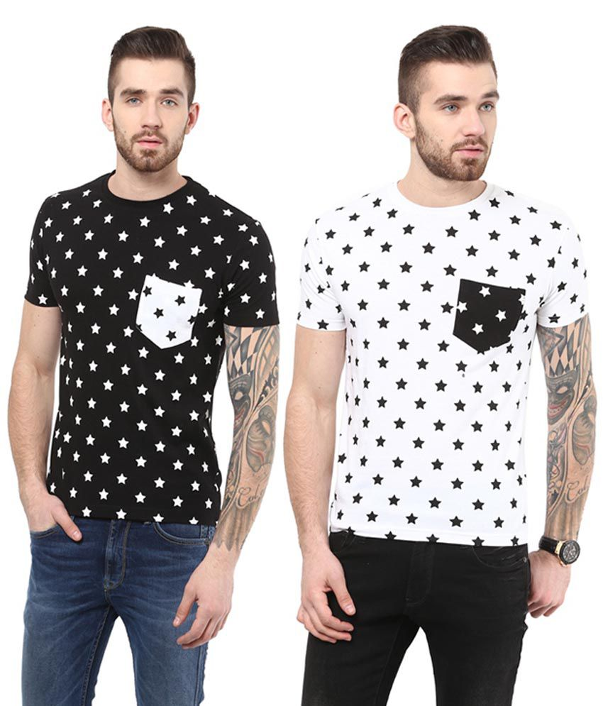 Monteil & Munero White & Black Star Printed Cotton Round Neck T-Shirts (Pack of 2)
