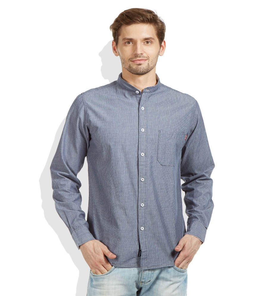 Pepe Jeans Blue Slim Fit Casual Shirt