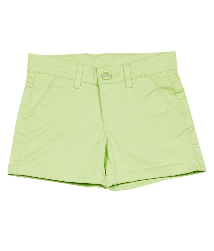 UCB  Fluo Green Solid Shorts For Kids