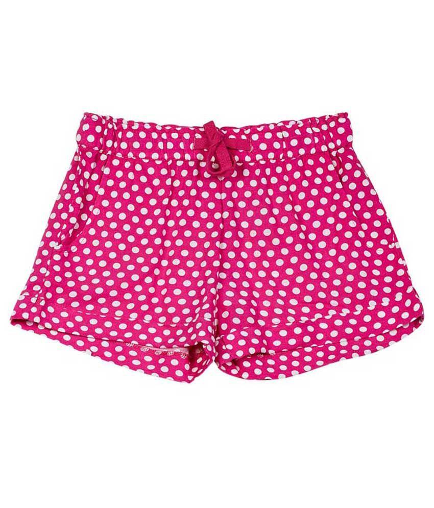 UCB  Pink Printed Shorts For Kids