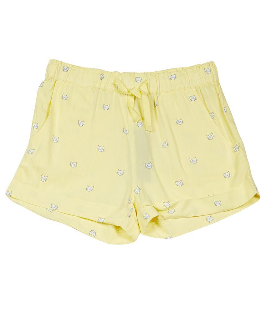 UCB  Yellow Printed Shorts For Kids