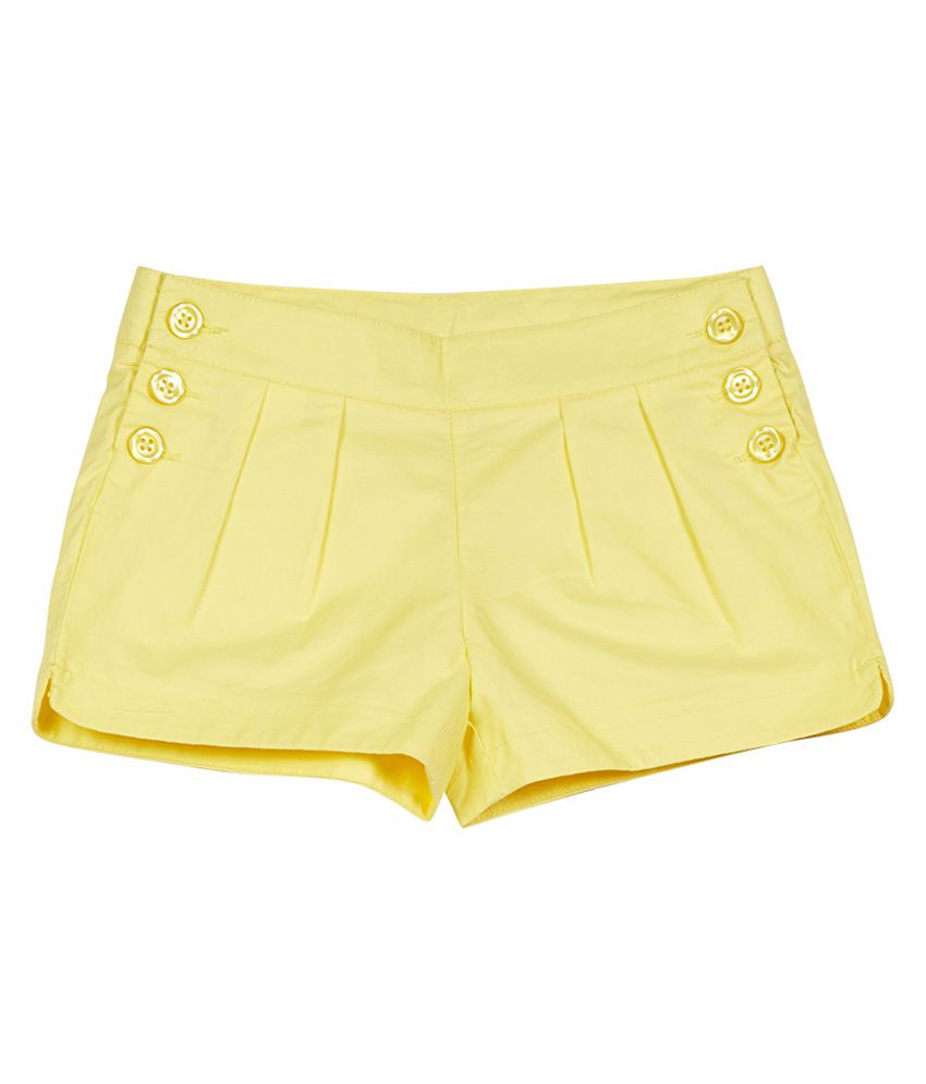 UCB  Yellow Solid Shorts For Kids