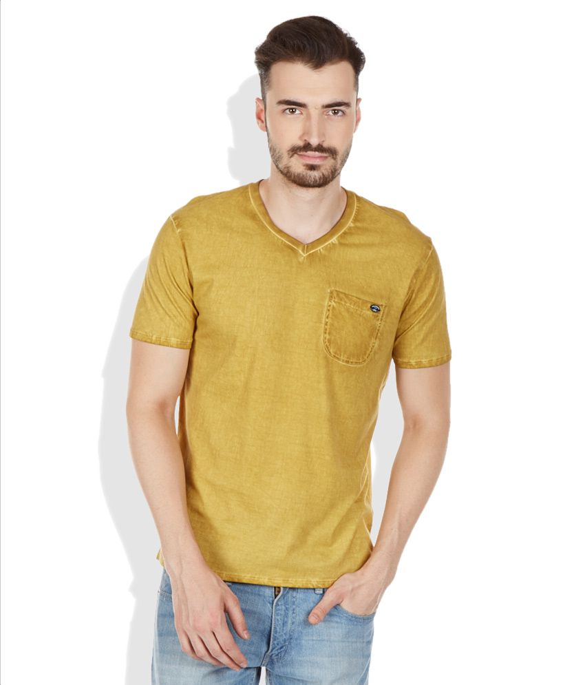Breakbounce Yellow V-Neck Neck T Shirt