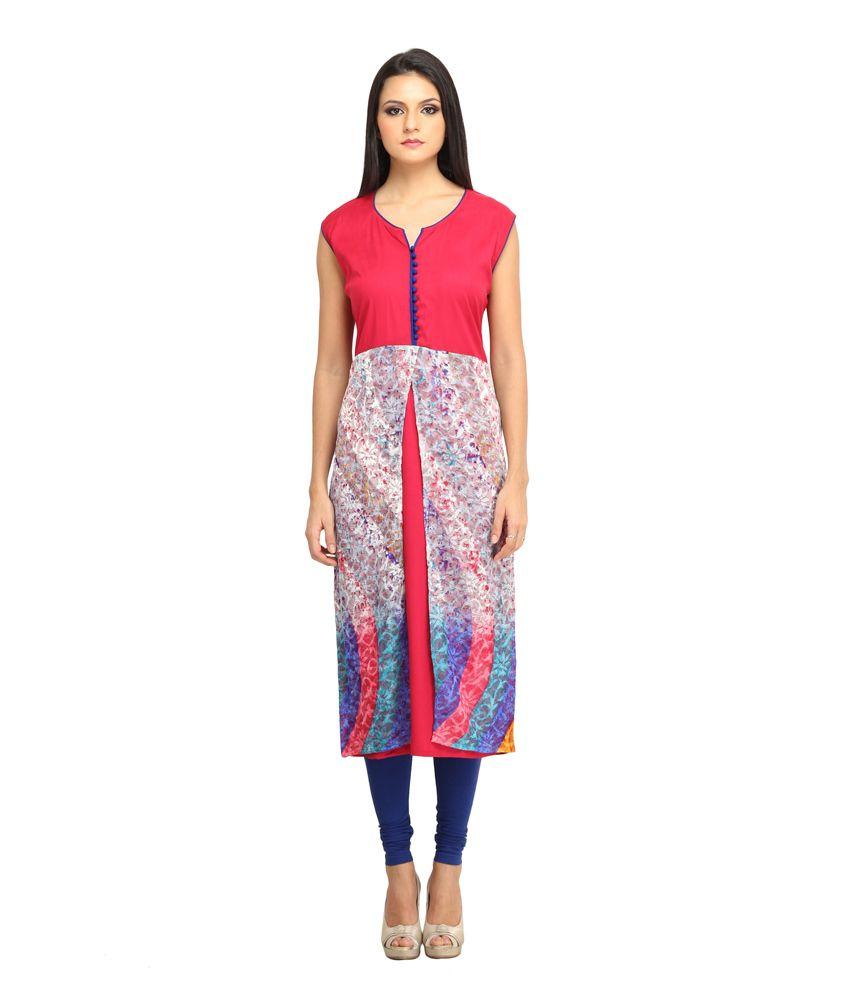 Jainish Multi Color  Round Neck Poly Rayon Printed Kurti
