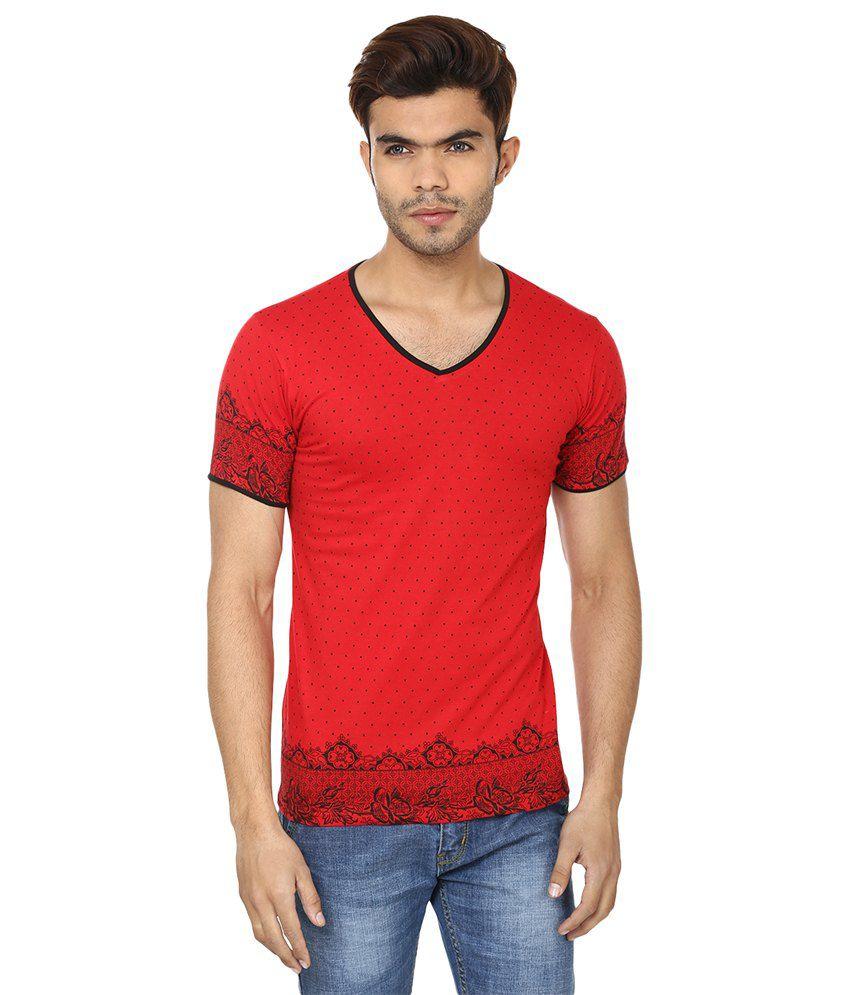 Lowcha Polka Print Men's Red V-neck T-Shirt