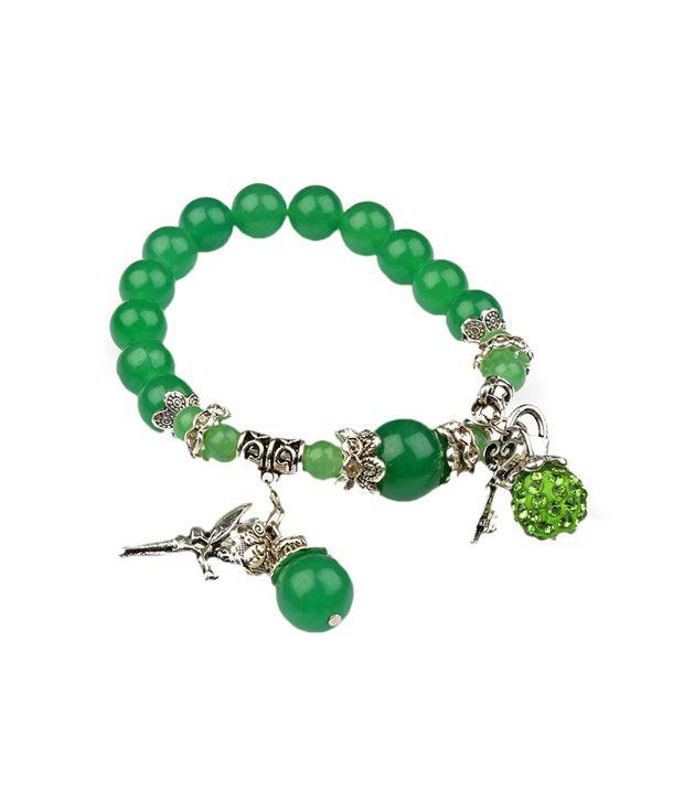 Ms. Accessorize Green Enticing Charm Bracelet