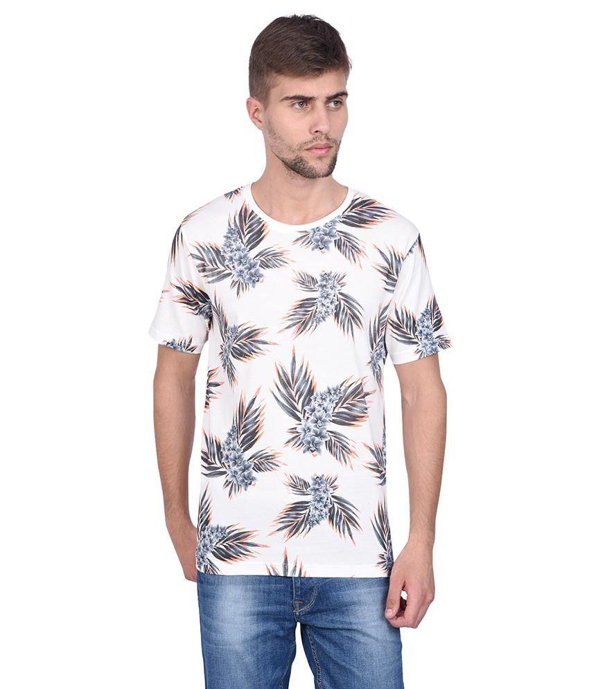 Slub White Flower Printed T Shirt For Men