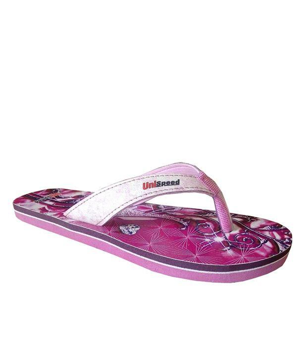 Unispeed Diamond Floral Pink Flip Flops