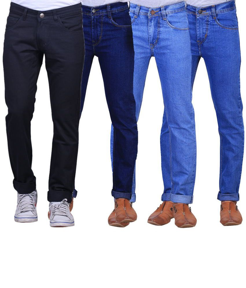 X-cross Combo Of 4 Blue Blended Cotton Jeans For Men
