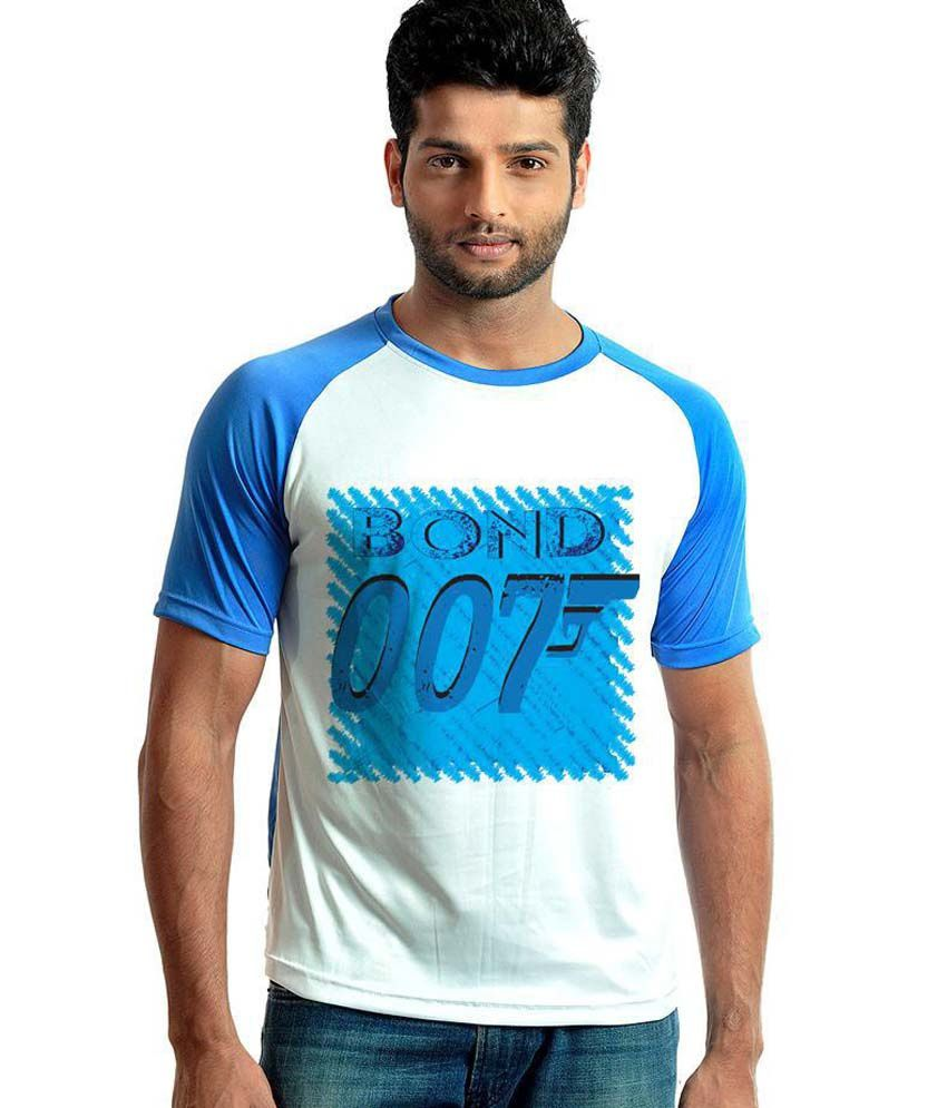 6th Cross White And Cyan Blue Polyester Printed Half Sleeve Round Neck T-Shirt