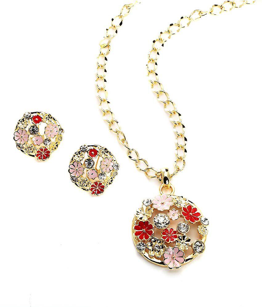 Blinglane Golden Alloy Contemporary Necklace Set