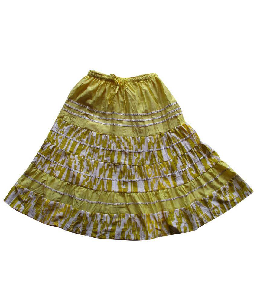 Garlynn Yellow Printed Cotton Skirt