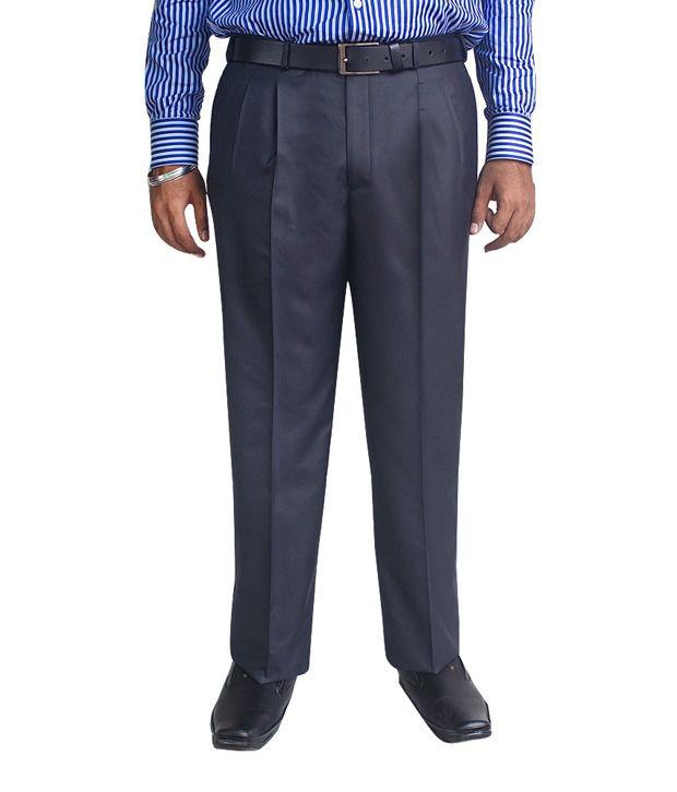 Kinger Navy Blue Pleated Trouser