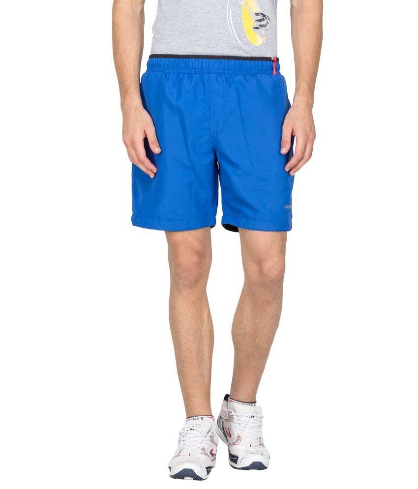 Le Bison Blue Polyester Solids Shorts