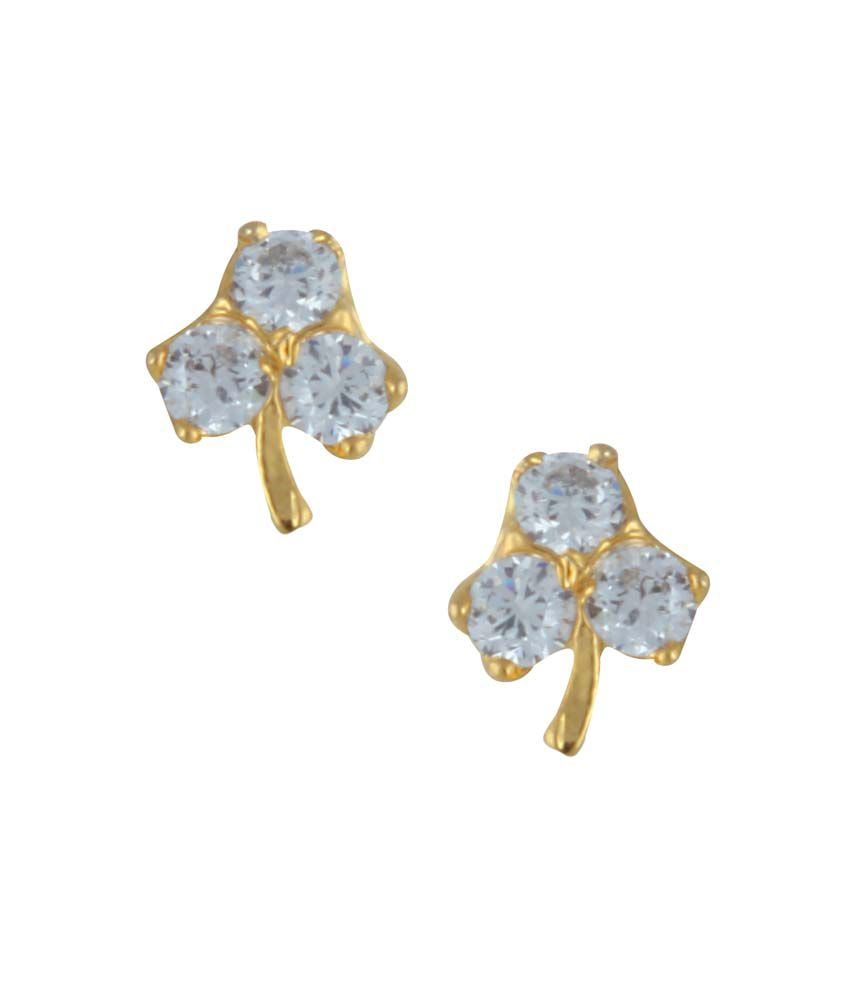 Archi Collection White Colour Spark Alloy Push Back Earrings