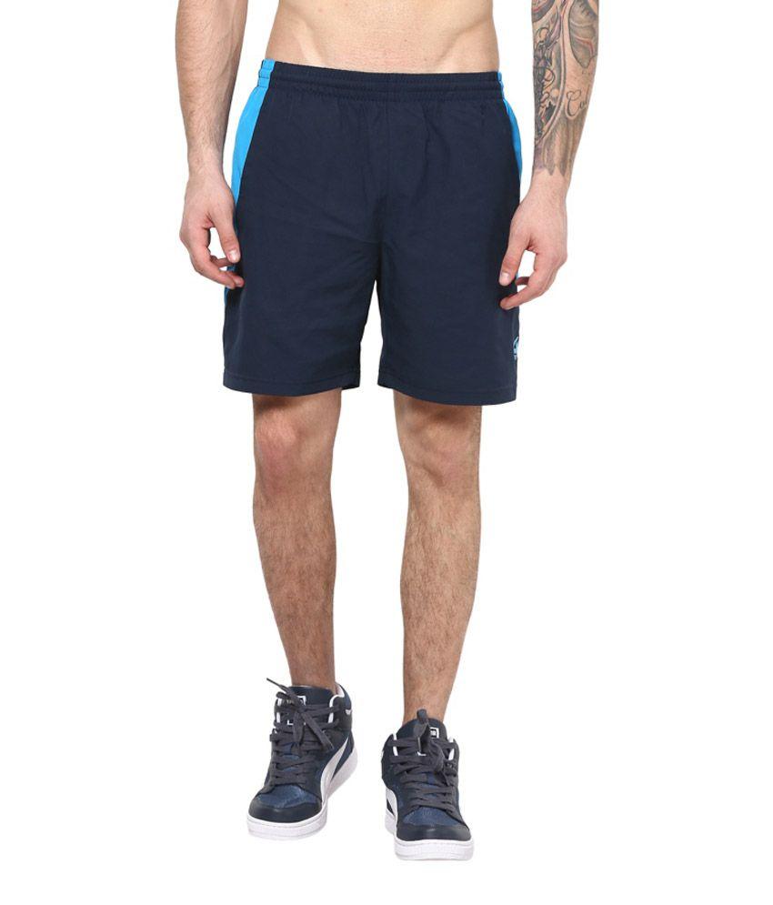 Aurro Sports Navy Blue Polyester Short