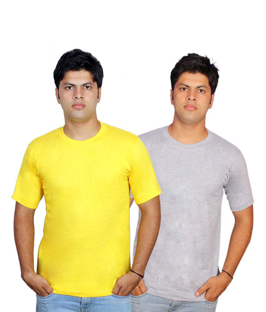 Civilized Showdown Multicolor Cotton Half Sleeve Round Neck T-shirt - Combo Of 2