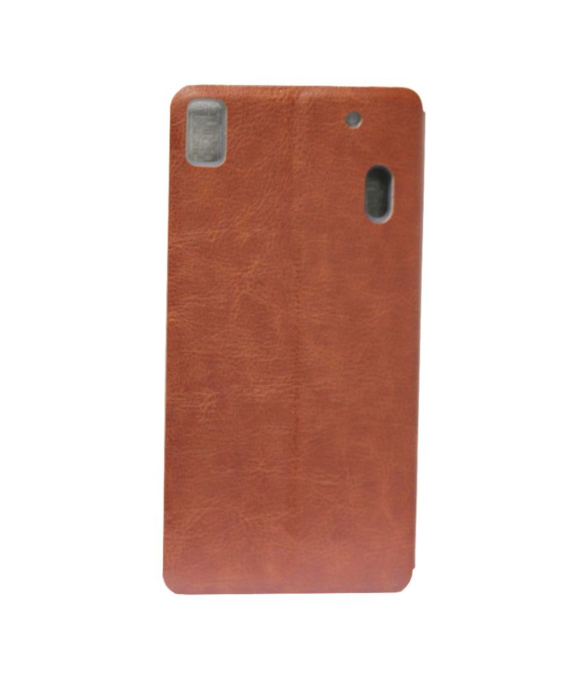 save off 77aa1 8ae34 Mofi Leather Flip Cover With Slim Back Stand For Lenovo K3 Note K50-t5 Brown