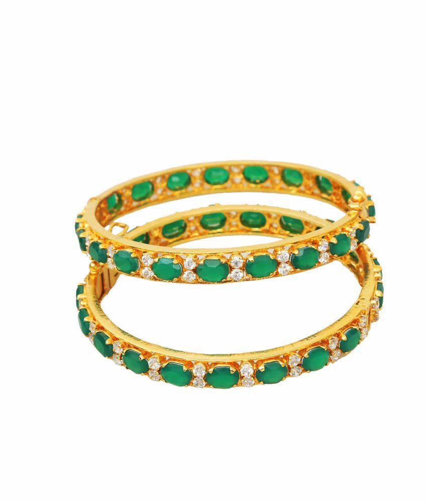 Vinayak Green Colour Spark American Diamond Bangle