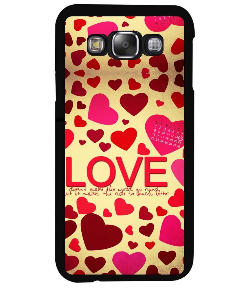 quality design 2cc7d e455e Dot Print Back Cover For Samsung Galaxy E7 Love Hearts Quotes Printed Case