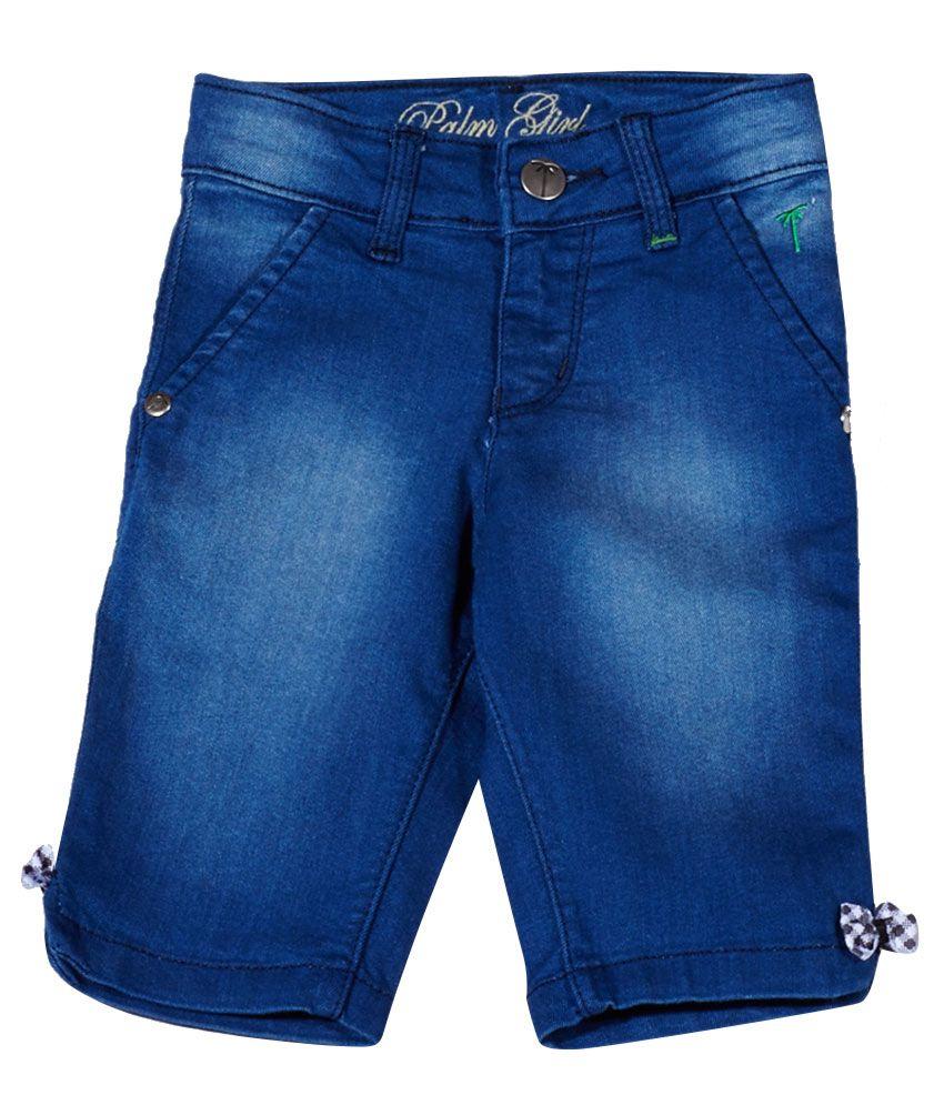 Gini & Jony Cotton Denim Blue Pedal Pusher for Girls