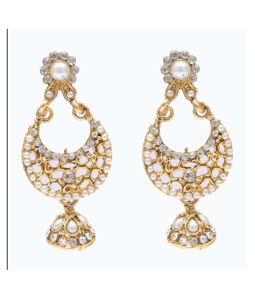 Neelam Gold Alloy Gold Plated Festive Hoop Earrings