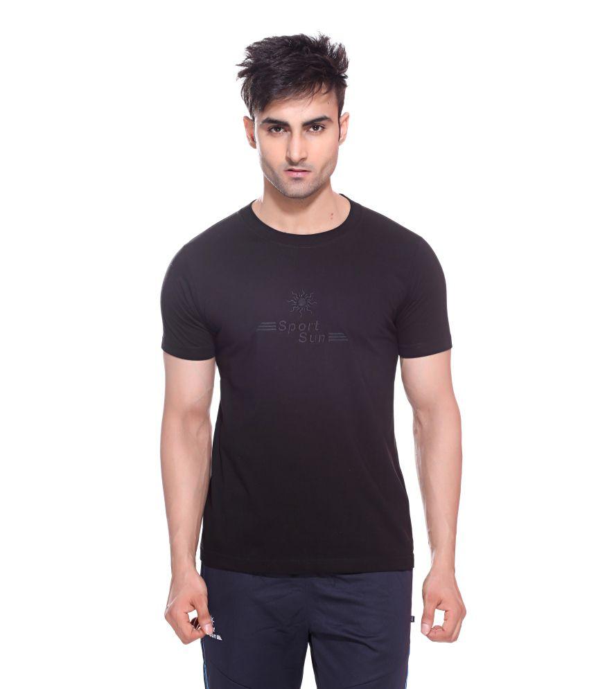 Sport Sun Sportswear Black Cotton Round Neck T-Shirt