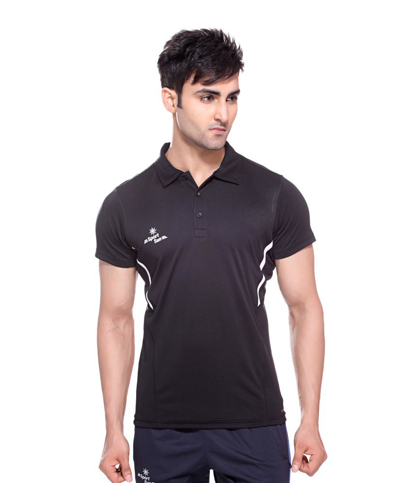 Sport Sun Sportswear Black Half Sports T-Shirt
