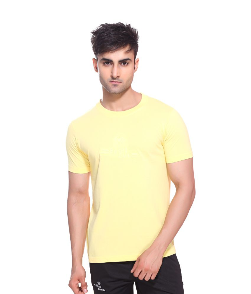 Sport Sun Sportswear Lemon Cotton Round Neck T-Shirt