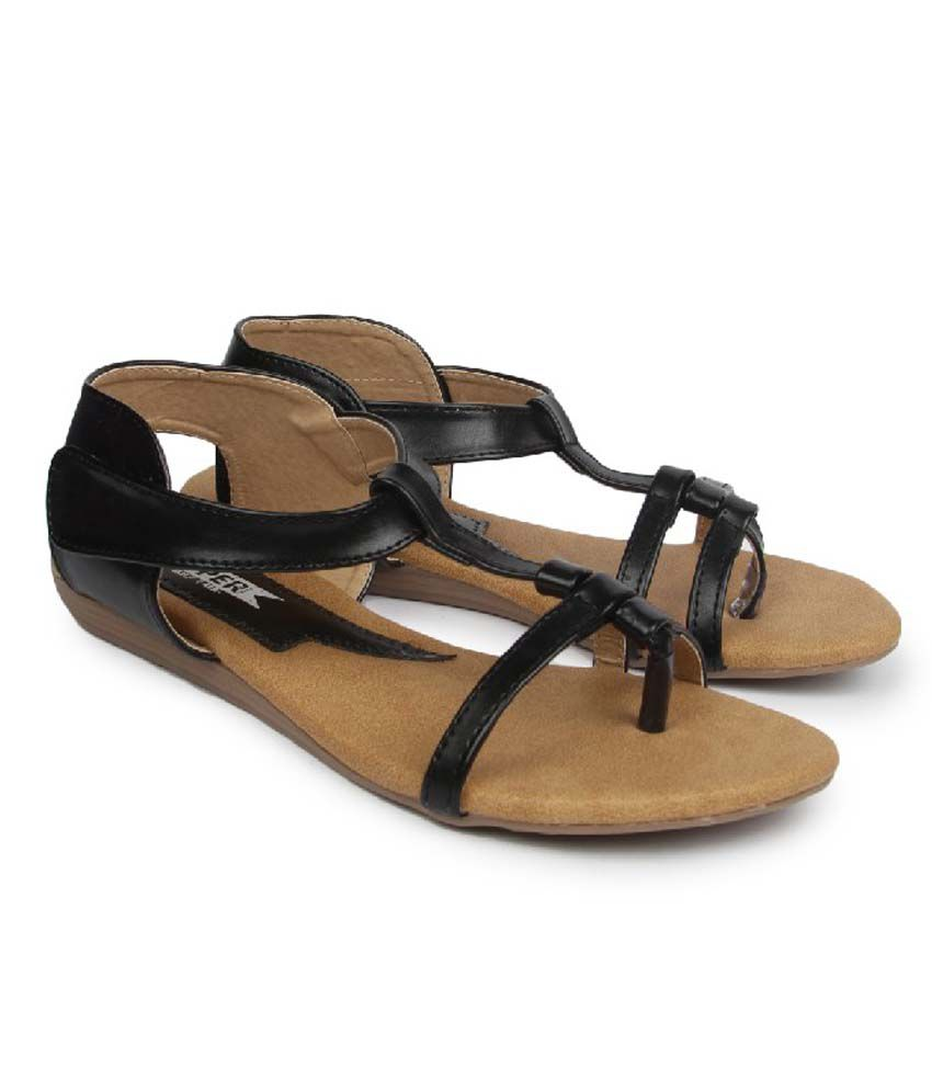 Superstar Black Synthetic Flat Daily Wear Sandals