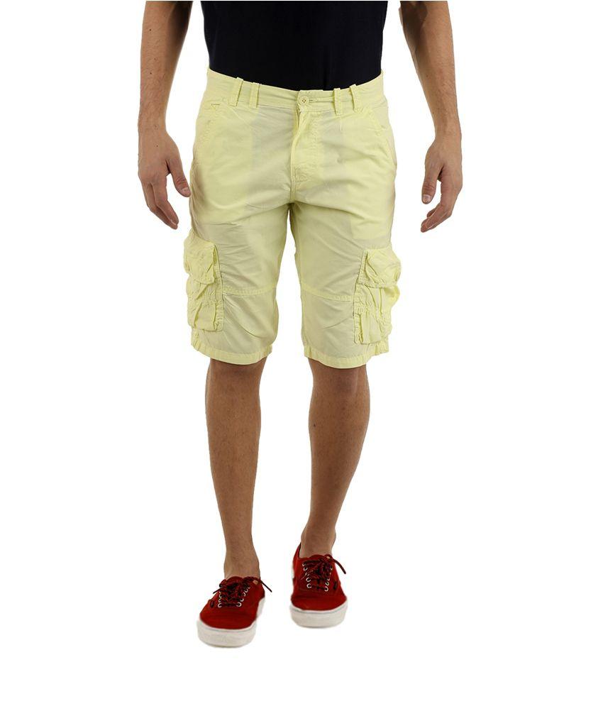AD-LIFE Yellow Cotton Knee-Length Shorts