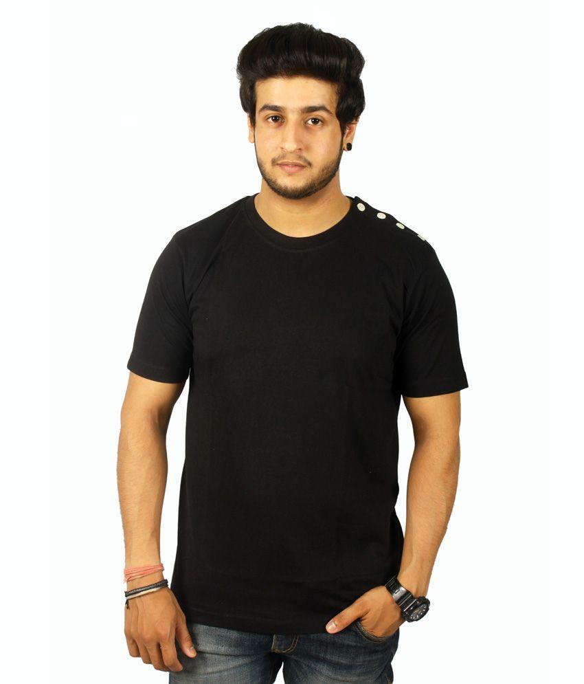 Centimeter Round Neck Shoulder Buttoned T Shirt For Men