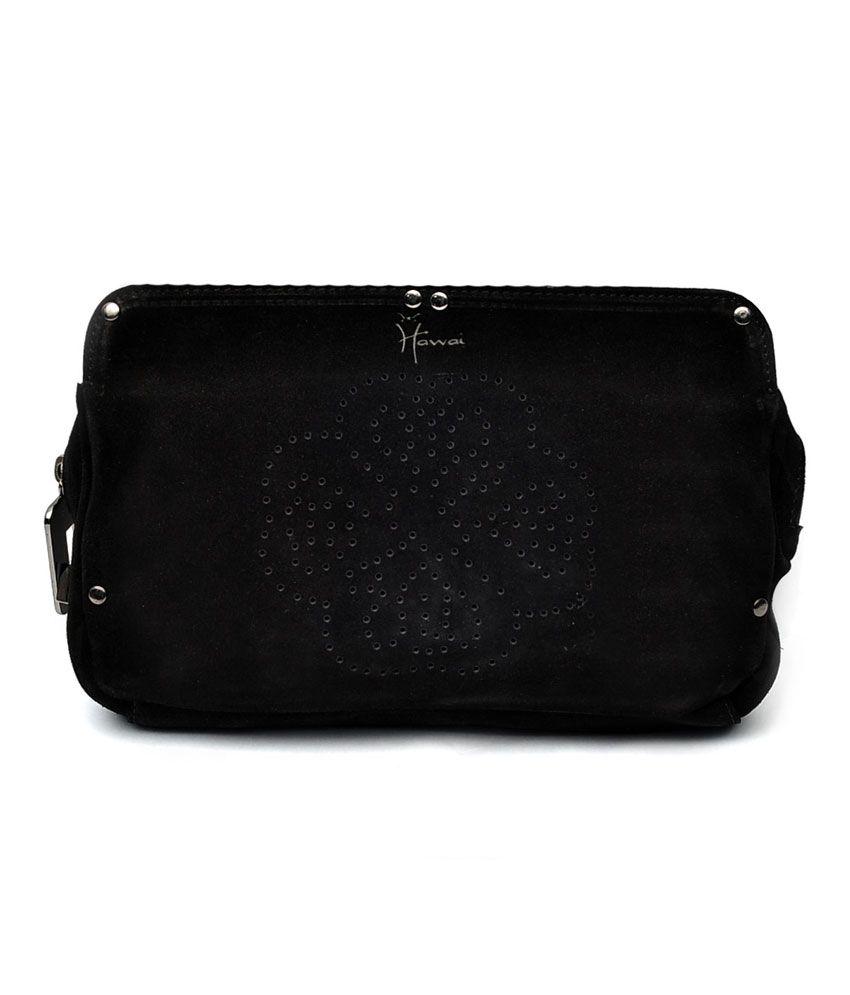 Hawai Black Leather Zip Sling Bag